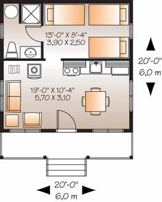Home Plans HOMEPW08834 - 400 Square Feet, 1 Bedroom 1 Bathroom Country Home with Add a door and window in the bedroom and would work well as office and guest.  Easy, cheap build.