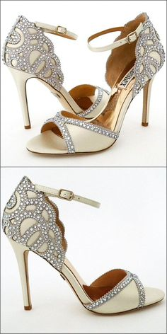 Badgley Mischka Roxy. Talking about vintage glamour...Roaring 20's style with sparkle at the toe and heel, finished with an adjustable ankle strap. Walk down the aisle in style with wedding shoes from Perfect Details.
