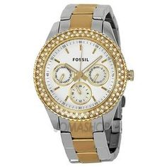 Fossil Women's ES2944 Two Tone Stainless Steel Analog with Silver Dial Watch