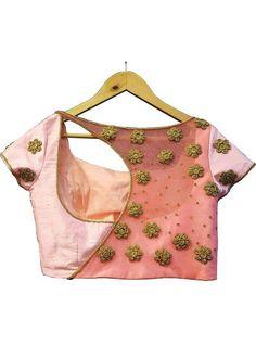 Pink Golden Embroidery Designer Back Saree Blouse Golden Blouse Designs, Fancy Blouse Designs, Sari Blouse Designs, Latest Blouse Designs, Latest Embroidery Designs, Saree Embroidery Design, Latest Blouse Patterns, Designer Blouse Patterns, Pattern Blouses For Sarees