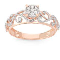 Tiara 2/9 CT TW Diamond 10K Rose Gold Vintage Inspired Scrollwork Engagement Ring