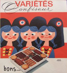 Hervé Morvan- French vintage advert dated 60s for L Alsacienne cookies