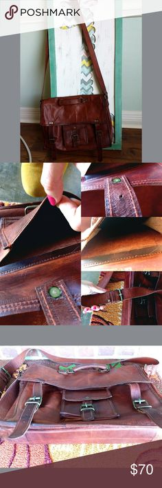 Men's Leather Messenger Briefcase Bag Great condition. My husband only used it when he flew for business meetings. It is immaculate on the inside. Could use some leather conditioner and be good as new. (If you would like me to condition it for you we can work something out. 😊 consider reasonable offers. 😊great gift for the hubby! Hasn't been used much! Fills out when it has items in it. Bags Messenger Bags