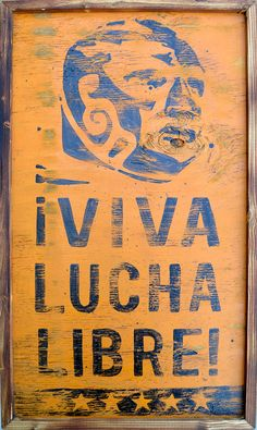 Viva Lucha Libre Vintage Painting Mexican Wrestler by Tabooisland, $60.00