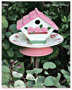 Pretty pink garden bird feeder!!