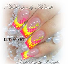 Summer Neon French Gradient Nail Art Design www.hollywoodblondesalon.com
