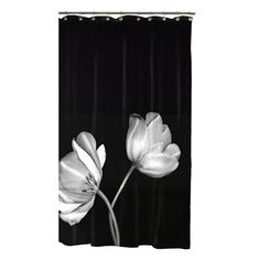"""Tulip Shower Curtain - Black (70x72"""").Opens in a new window"""
