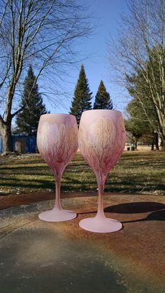 Stained Glass Art Drinking Crystal Goblets by MysticLandPainted on Etsy