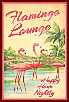 Tropical Tiki Bar Flamingo Lounge 8x12 Vivid Distressed All Weather Metal Sign Made In Hawaii, USA Luau Bar Pub Martini Mixed Drink Happy Hour Beach House Party Hot Tub Pool Welcome Margaritaville