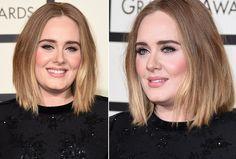 """Adele: """"Ela não costuma errar nunca no make. Pele perfeita, super iluminada e bem viçosa. Blush em tom rosado e lábios em um pêssego rosado com acabamento brilhante de gloss. E claro, seu delineador sessentinha com cílios naturais. Elegante!"""""""