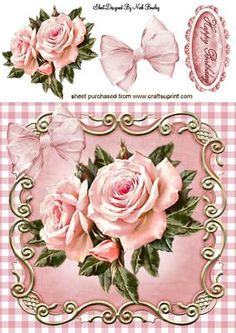 PINK ROSES PINK GINGHAM AND PRETTY BOW 8X8 on Craftsuprint designed by Nick Bowley - PINK ROSES, PINK GINGHAM AND PRETTY BOW 8X8, Makes a pretty card, lots of other designs to see, small roses for insert or tag - Now available for download!