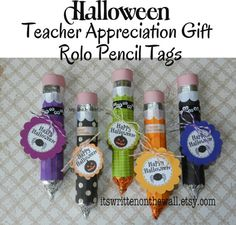 Get instructions for making these cute Halloween Rolo Pencils.....then get the 9 Halloween tags in 9 different colors