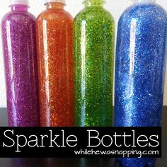 Sparkle Bottles: made 9/14/14. Don't fill the bottle too high with water. Glitter glue doesn't mix in very well if there's no room to swish it around in. It takes it a while for it to break down. I added a little food coloring in one, but decided I didn't need it in the second bottle.