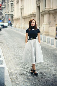 Discover this look wearing Black Midi H&M Skirts, Forever 21 Shoes, Gold OASAP Necklaces tagged skirt - Some kind of a fancy garment by Chaba styled for Chic, Everyday in the Winter Full Midi Skirt, Full Skirts, Maxi Skirts, Love Fashion, Fashion Outfits, Fasion, Style Fashion, Black Midi, Corporate Attire