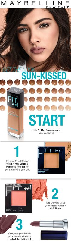 Get this sunkissed fall makeup look in four easy steps.  First, apply your Fit Me! Foundation shade.  Next, set the foundation with the Fit Me! Pressed Powder for extra mattifying strength.  Then, add warmth to the cheeks with Fit Me! Blush. Top off the look with Loaded Bolds Lipstick!