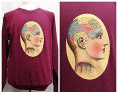 Handmade Anatomy Phrenology Head Sweater Jumper by TheGrungeMonkey on Etsy