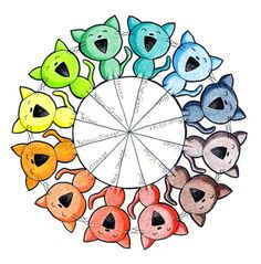 Color Wheel Kitties by paper-flowers.deviantart.com on @DeviantArt