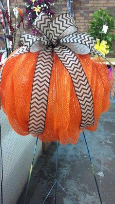 Decomesh pumpkin with burlap chevron ribbon