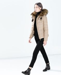 ZARA - WOMAN - QUILTED ANORAK WITH FUR HOOD