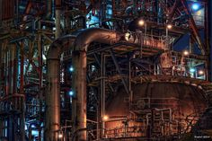 HDR Photo: Factory night view 'Various pipes'