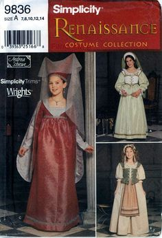 Simplicity 9836 Renaissance costume pattern for girls in sizes 7 to 14 UNCUT…