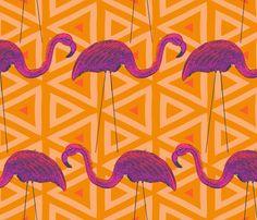 Flamingo Retro on Yellow Triangle Background fabric by mariafaithgarcia on Spoonflower - custom fabric Yard Flamingos, Triangle Background, Flamingo Print, Cotton Twill Fabric, Airstream, Workwear, Unicorns, Fabric Patterns, Custom Fabric