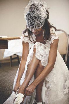 Lace wedding dress, via Style Me Pretty