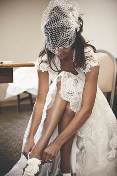 Gorgeous shoes, gorgeous headpiece...and gorgeous bride, geez