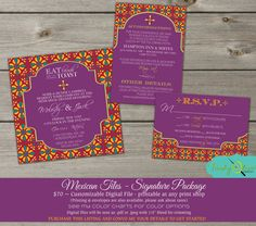 Mexican Tiles Fiesta Fun, Bold, Wedding Invitation RSVP - DIY- Rehearsal Dinner, Bridal Shower, Birthday, Red, Purple Turquiose Package on Etsy, $70.00