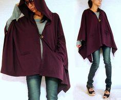 Hoodie Coat / Hoodie Jacket / Cape Coat / Hoodie Wrap / Burgundy Red - Purple Jacket / Women Outerwear