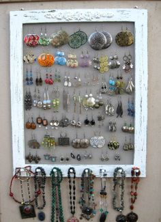 Earring/ Jewelry Frame. I've done this on a smaller scale.. but this is SO MUCH BETTER. I didn't think about necklaces.