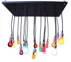 Industrial Chandelier with Cinco de Mayo bulbs by urbanchandy on Wanelo