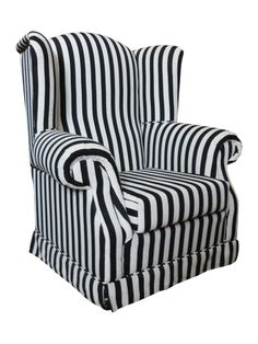 Wood-framed arm chair with a scrolled back and striped upholstery. Product: ChairConstruction Material: Fabric and woodColor: Black and whiteDimensions: H x W x D joss and main