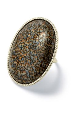 Fossilized Dinosaur Bone Cabochon Ring by Monique Péan - Moda Operandi