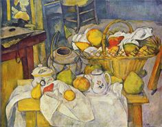 Still life with basket Artist: Paul Cezanne Completion Date: c.1890 Style: Post-Impressionism Period: Mature period Genre: still life Technique: oil Material: canvas Dimensions: 65 x 81 cm Gallery: Musée d'Orsay, Paris, France