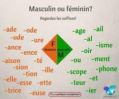 Masculin ou féminin? Comment savoir si un mot est masculin ou féminin en français? Il n' y a pas de règle absolue mais certains suffixes la terminaison du mot) peuvent vous aider! Les suffixes de la photo sont toujours du même genre ( masculin ou féminin). Il y a quelques exceptions seulement!