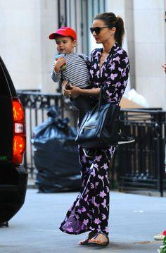 Miranda Kerr in DvF dress and  Céline bag