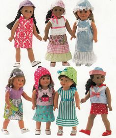 """New threads for your American Girl! -- 18""""  (46cm) Girl Doll Seven Piece Summer Wardrobe American Made Sewing Pattern"""