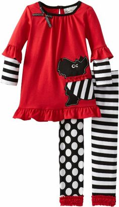 Rare Editions Girls Scottie Dog Legging Set Toddler, Red/Black/White, Red/black/white top with scottie dog applique to stripe/dot knit legging, Sets Toddler Pageant, Black And White Tops, Red Black, Disney Sweatshirts, Sewing For Kids, Sewing Ideas, Striped Leggings, Black Knit, Outfit Sets