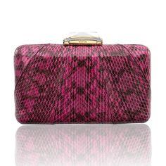Espey Snakeskin Pink Minaudiere with Dark Markings. Elaphe Bag. KOTUR #pinkbag #eveningbag #snakeskinbag #elaphe #summerbag #pinkclutch #SS15 #spring15