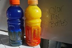 How to make color mixing bottles that mix over and over...science table :)