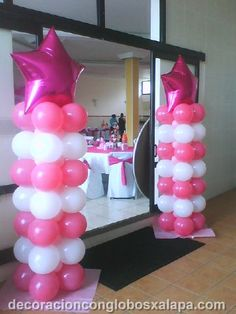 pink and white columns
