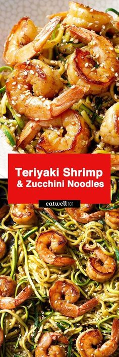 Stir Fry Shrimp and Zucchini Noodles – A delicious, low-carb, healthy weeknight dinner made with spiralized zucchini and shrimp with teriyaki sauce and toasted sesame seeds. This stir fry is so qui… paleo dinner fish Zucchini Noodle Recipes, Zoodle Recipes, Spiralizer Recipes, Seafood Recipes, Seafood Pasta, Tapas Recipes, Healthy Zucchini, Party Recipes, Meal Prep