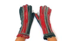Gray Red Gloves with Fingers Women's Gloves with Fingers