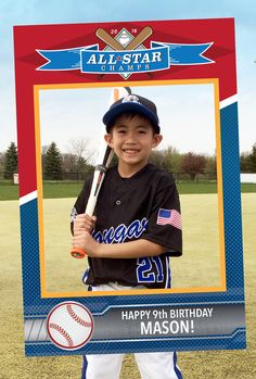 Baseball Card Theme Photo Booth. Party Prop Frame. by Imajenit