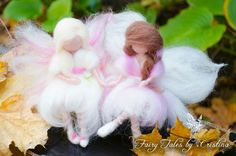 Friendship beautiful felted sitting fairies