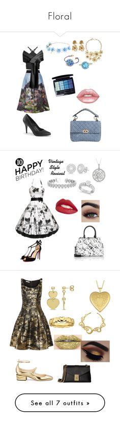 """""""Floral"""" by rainbowsforhire ❤ liked on Polyvore featuring Alice + Olivia, Color My Life, Oscar de la Renta, Anne Klein, Valentino, Christian Dior, Lime Crime, WithChic, Christian Louboutin and Maison Margiela"""