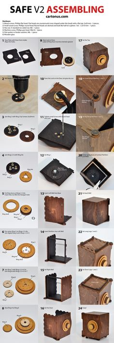 wooden safe v2 vector model project plan ready for laser cutting. Assembling instruction of lasercut safe