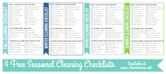 4 Free Seasonal Cleaning Checklists via Clean Mama. she has other great free printables