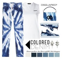 """DSQUARED 2 Colored Denim"" by conch-lady ❤ liked on Polyvore featuring Dsquared2, dsquared2, coloreddenim and dsquared2coloreddenim"